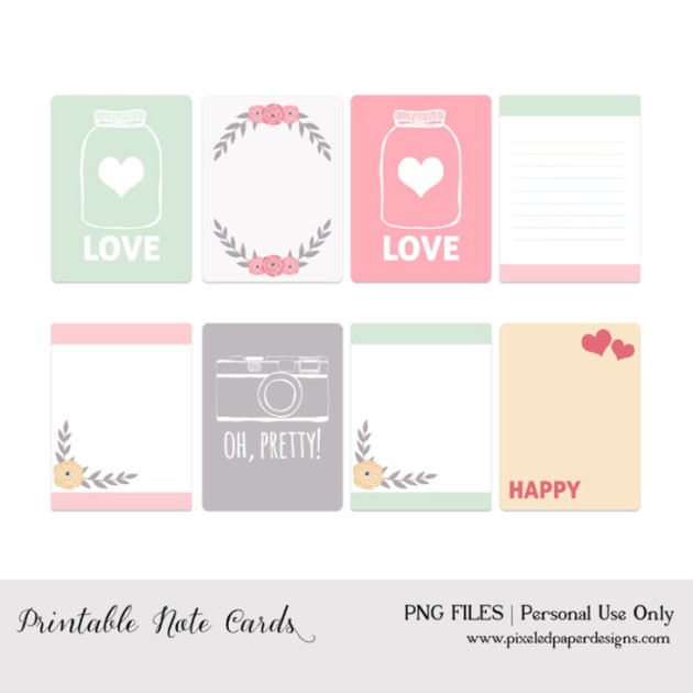 8 free printable Project Life filler cards with a Valentine's Day theme