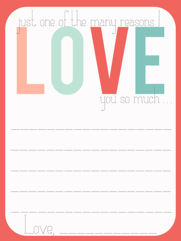"Project Life journal card that says ""Just one of the many reasons I love you so much"" with journal space below."